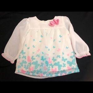 🦋4/$20 Girls 6-9 mos Top Healthtex White Pink Blu